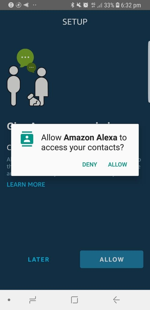 Allow Amazon Alexa to access your information