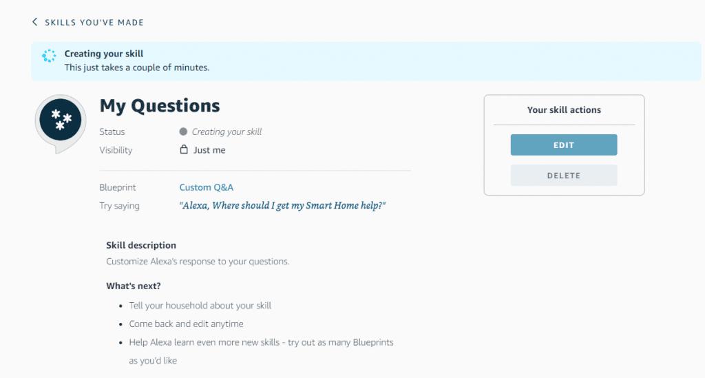 Alexa Skill Confirmation