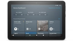 Amazon Fire Tablet Turn on Smart Home Device Dashboard.